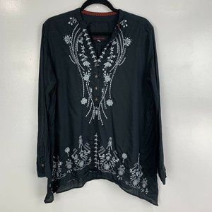 Johnny Was 3J Workshop Long Sleeve Embroidered Top